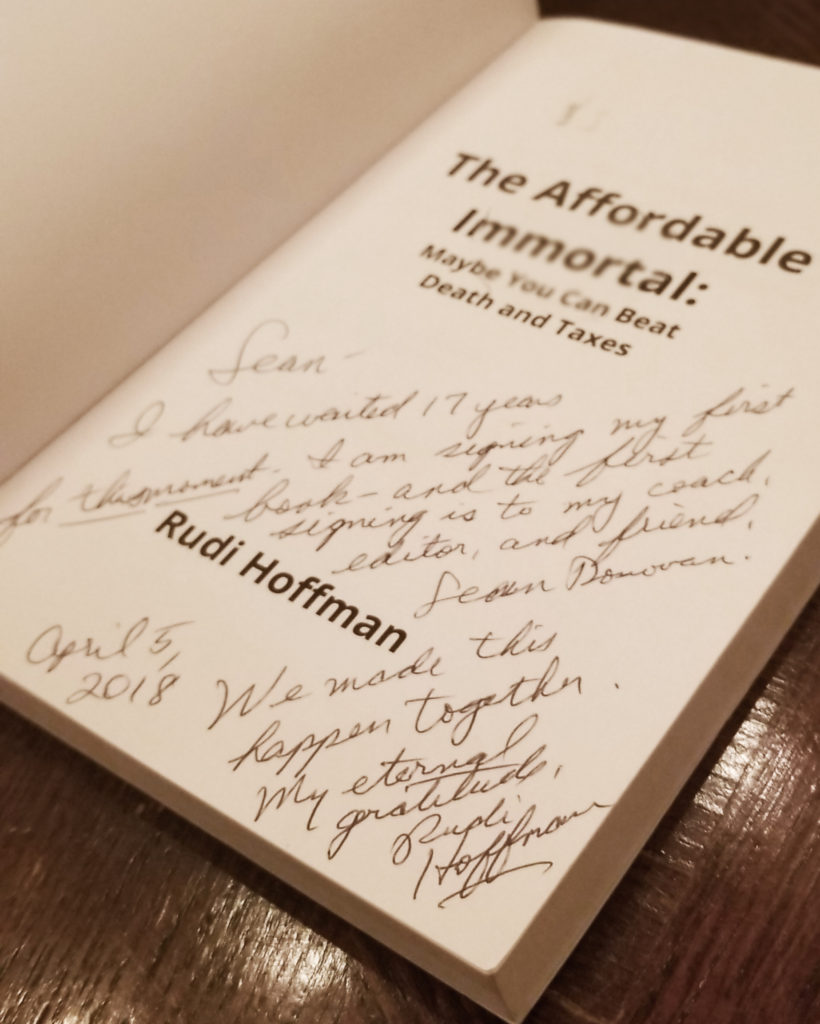 "The written testimonial that Rudi Hoffman left in Sean Donovan's copy of ""The Affordable Immortal"""