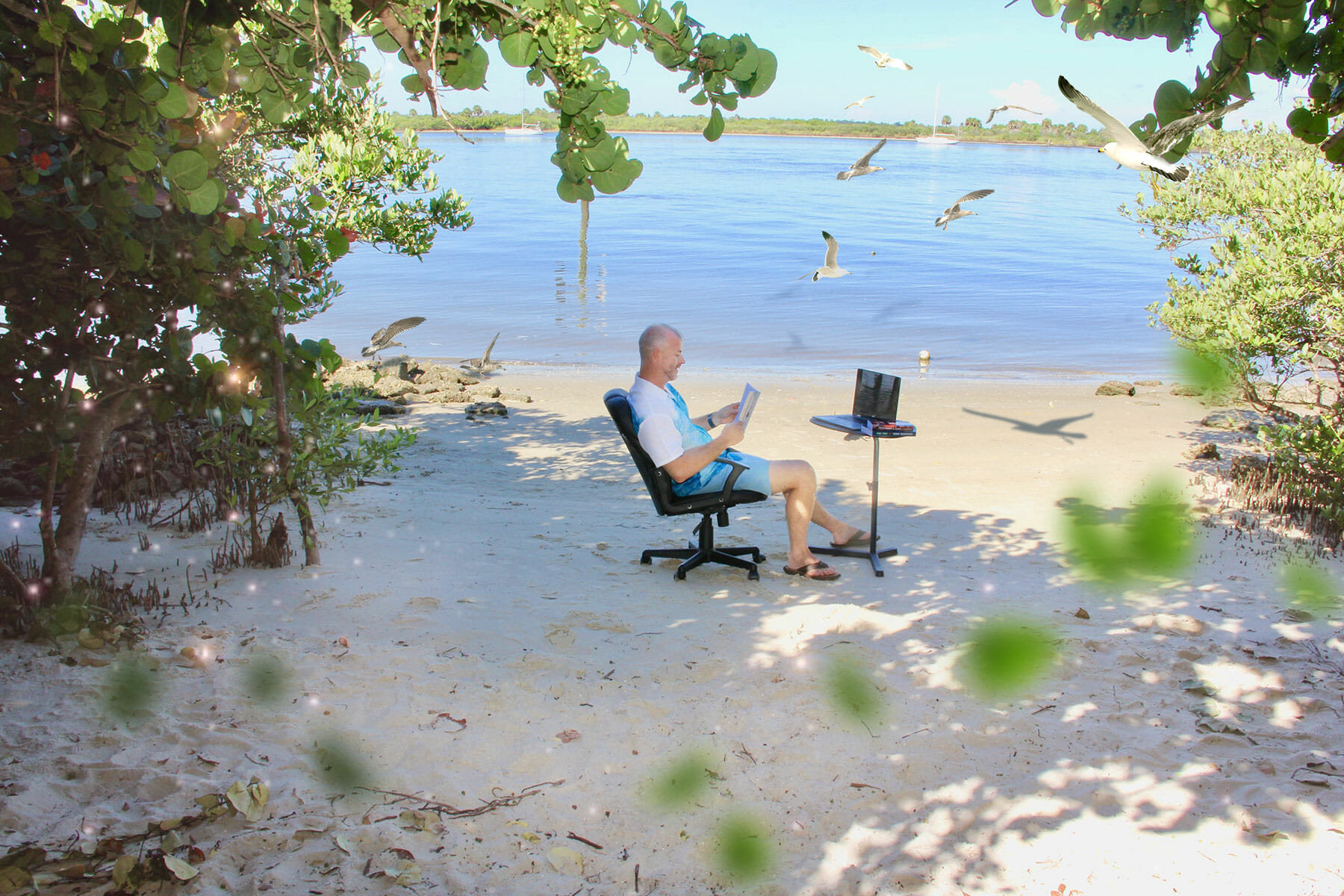 SeanDon reading and writing while relaxing on a private beach